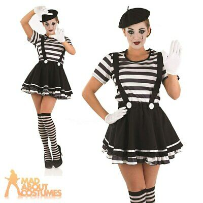 Adult Mime Artist Costume Womens French Street Circus Fancy Dress Outfit