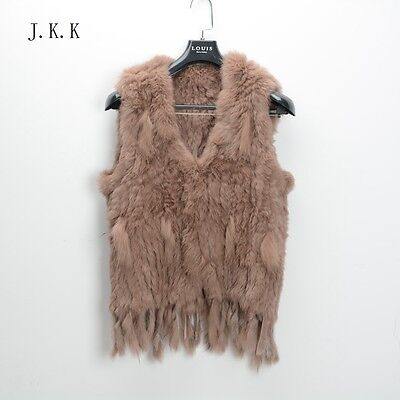Top quality Real 100% genuine rabbit knitted fur gilet women winter vest 1022T