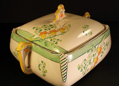 STYLISH BURLEIGH WARE ART DECO SERVING TUREEN EVERGREEN DESIGN REGD IN AUSTRALIA