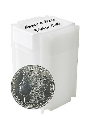 Silver Morgan and Peace Dollar Polished Cull Lot of 10