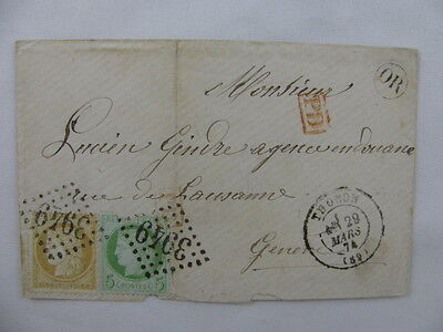 cover France Frankreich numerical cancellation 3949 Thonon Genéve 1874