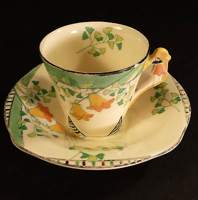 GORGEOUS BURLEIGH WARE ART DECO COFFEE  CUP & SAUCER IMPERIAL SHAPE