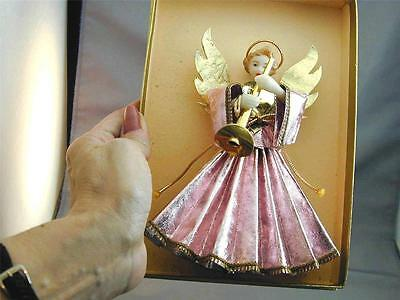 Vintage German Wax Angel Tree Topper In Box NOS New Old Stock Pink Dress