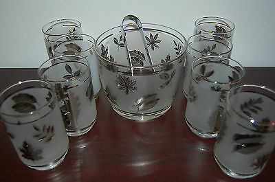 Libbey Frosted Silver Leaf Ice Bucket & 8 Water / Cocktail Glasses