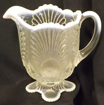 French Opalescent Glass Beaded Shell Pattern Full Size Water Pitcher