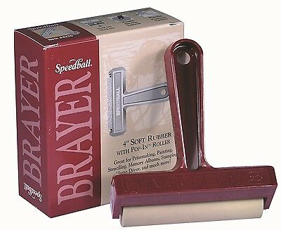 Speedball Brayer - 10 cm (4 inch) Soft Rubber With Pop-In Roller
