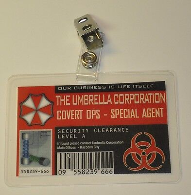 Resident Evil ID Badge-Umbrella Corporation Covert Ops Special Agent cosplay