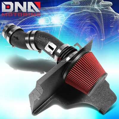 For 11-14 3.7L Ford Mustang V6 Black Wrinkle Finished Air Intake+Heat Shield