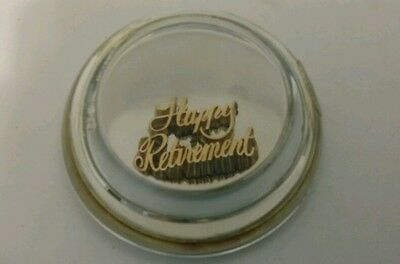 Vintage 1986 Gerity Products 24K Gold Electroplate Happy Retirement Papwerweight