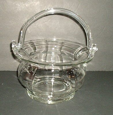 Glass Basket Ice Bucket With Glass Handle Made In Romania