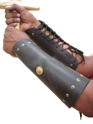 LEATHER ARM GUARDS WITH BRASS ACCENT SET/2 Greco Roman Leather Arm Vambrace A7