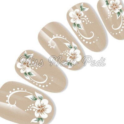 White Flowers & Swirls Nail Sticker, Water Decals, Nail Decals, Transfers G029