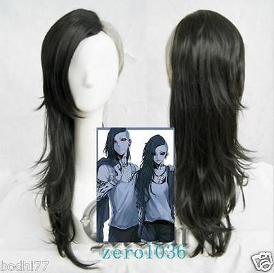 Newest Tokyo Ghoul Kamishiro Sister Black Silver Long Straight Cosplay Hair Wig