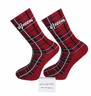 Red Tartan Design Wedding Socks, Groom, Best Man, Usher