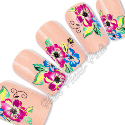 Nail Art Water Decals Transfers Stickers Wraps Colourful Tropical Flowers G117