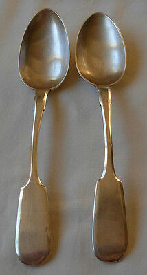 DATED 1892- PAIR OF IDENTICAL RUSSIAN SILVER 84  ANTIQUE  SPOONS--  118 grams