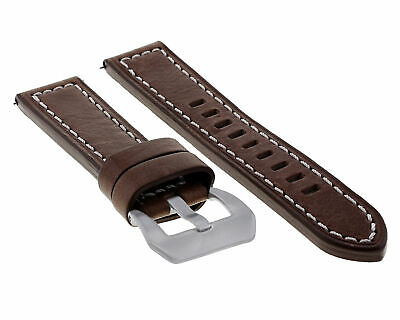 24Mm Premium Leather Watch Band Strap For Pam 44Mm Panerai D/Brown Ws Long #10
