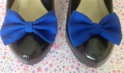 NEW PAIR PLAIN ROYAL BLUE COTTON FABRIC BOW SHOE CLIPS VINTAGE 50s RETRO STYLE