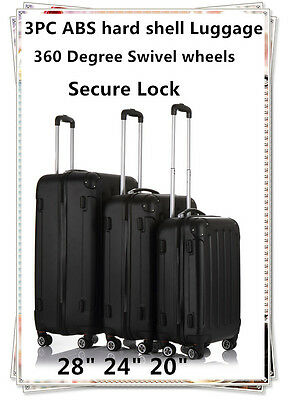 3Pcs Hard Sell ABS Spinner Luggage Set Travel case Suitcase Baggage Black/Silver