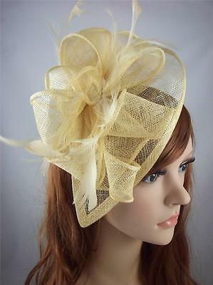 Pale Gold Teardrop Sinamay Fascinator with Feathers - Occasion Wedding Races