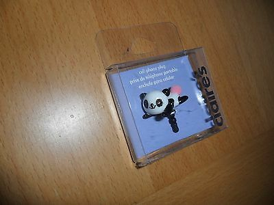 "Claires cellphone decoration plug diecut Panda Bear  7/8 "" wide  NIP"