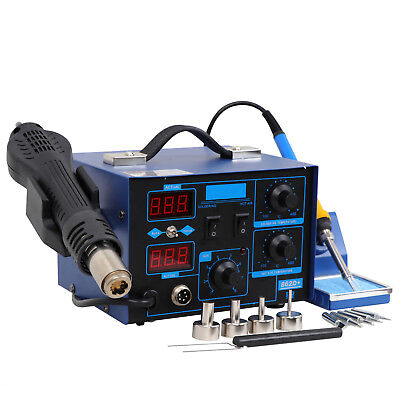 2in1 SMD Digital Soldering Station 862D Hot Air & Soldering Iron+ 4 Nozzles US S