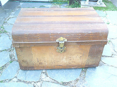 "Vintage Large Travelling Tin Box/Chest With Handles & Lock 29""L 17""H 20""W"