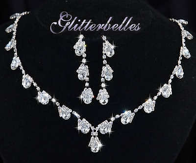 GLITTERBELLES SILVER Crystal RAINBOW CLEAR Bridal Prom Necklace & Earrings SET