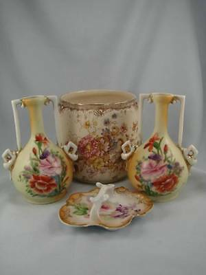 Shabby Chic Collection - Victorian Blushware Pair Of Vases, Ring Tray, Jardinere
