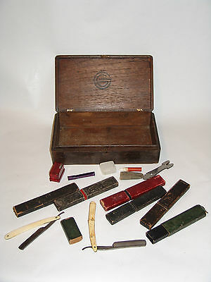 Set antike Rasiermesser USA  vintage straight razors antique in Box