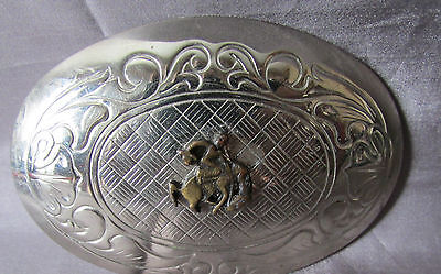 "Vintage Decorative Silver/Gold Tone Oval Bronco Riding Belt Buckle 2"" X 3""  Usa"