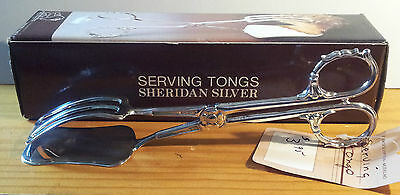 "Sheridan Silver Plate Serving Tongs Taunton Silversmiths Italy 9.5"" long IOB"