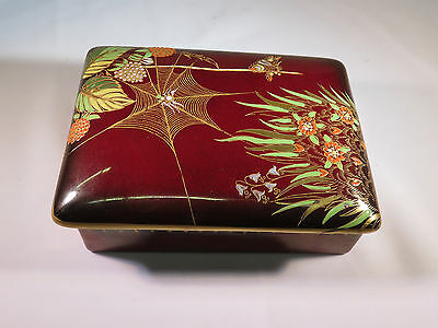OLD CARLTON WARE ROUGE ROYALE BOX WITH HANDPAINTED SPIDER WEB, FLOWERS