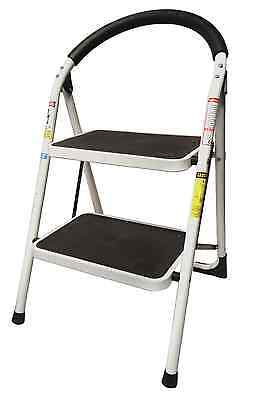 2 Step Ladder Lightweight Folding Stool Heavy Duty Industrial 330 lbs Capacity