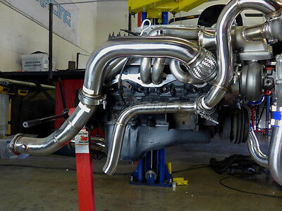 CXRACING TWIN TURBO Header For 79-93 Ford Fox Body Mustang