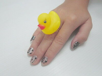 Fashion Ring Rubber Duck For Children Cute 1 Pcs Yellow