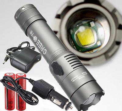 2000LM UltraFire CREE XML T6 LED Rechargeable Flashlight Torch 18650 Battery +Ch