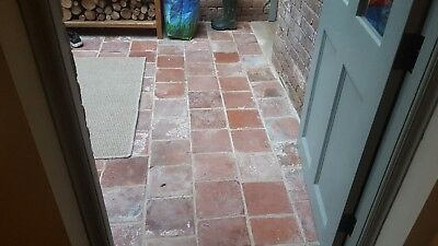 Reclaimed red clay 9 x 9 antique quarry tiles pamment Victorian floor