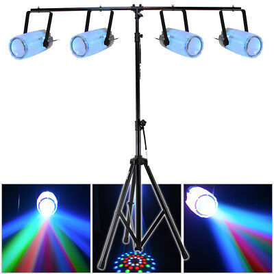 4x Beamz Clear LED Moonflower Effect Lights T-Bar DJ Disco Party Lighting Stand