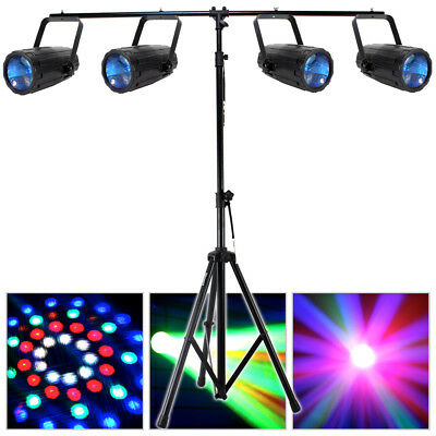 4x Beamz LED Moonflower Effect Lights T-Bar DJ Disco Party Lighting Stand