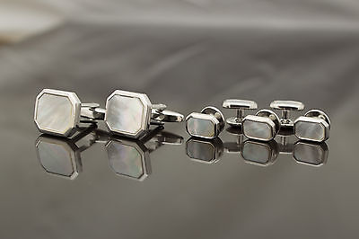 SET Cufflinks and Studs - silver colour & mother of pearl - rectangle head