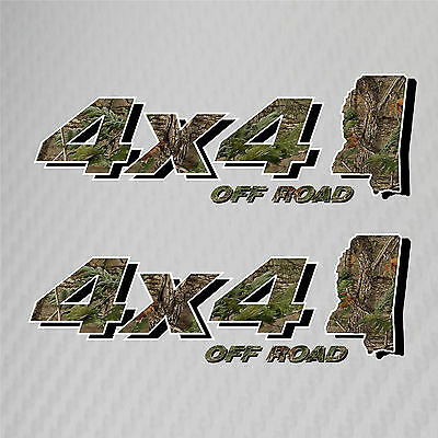 4x4 Truck Off Road Mississippi Hunting Deer Camo Decal Ford Chevy Dodge Toyota