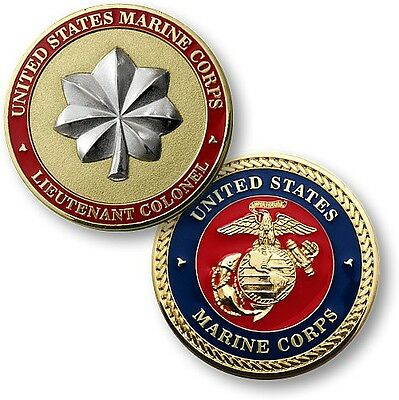 USMC Lieutenant Colonel Challenge Coin O-5 US Marine Corps Rank Insignia LtCol