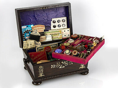 William IV c1830 Rosewood Mother of Pearl Sewing Box & Contents