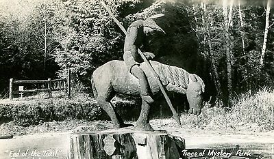 Postcard RPPC TREES OF MYSTERY PARK Redwood Hwy CA Redwood Statue Indian hf914