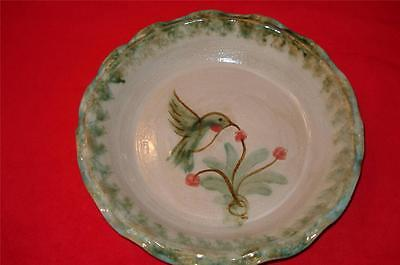 "Signed ELLIS Pottery HUMMINGBIRD and flower Pie Quiche Plate Pan 9.5""   x 1.75"""