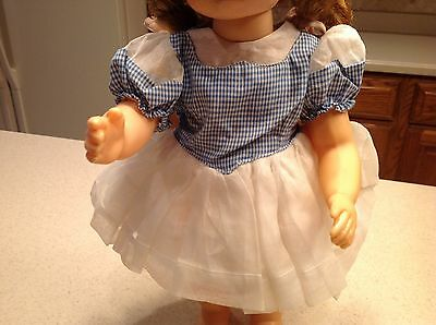 """Vintage Terri Lee Doll Clothes Fits 16"""" Doll Party Dress White W/Blue Gingham"""