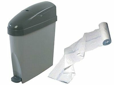 MAL Sanitary Waste GREY Ladies + LINERS Feminine Hygiene Disposal Unit Sani bin
