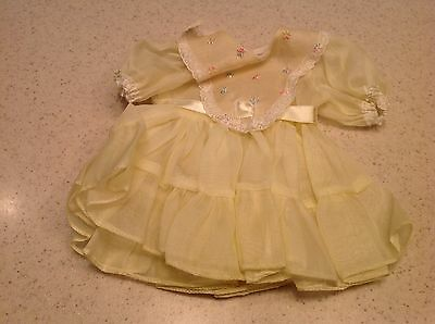 """Vintage Terri Lee Doll Clothes Fits 16"""" Doll Yellow embroidered Dress"""
