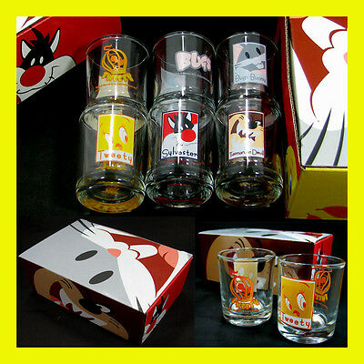 Warner Bros Looney Tunes Glass Tumbler Set TWEETY BUGS BUNNY SYLVESTER TAZMANIAN